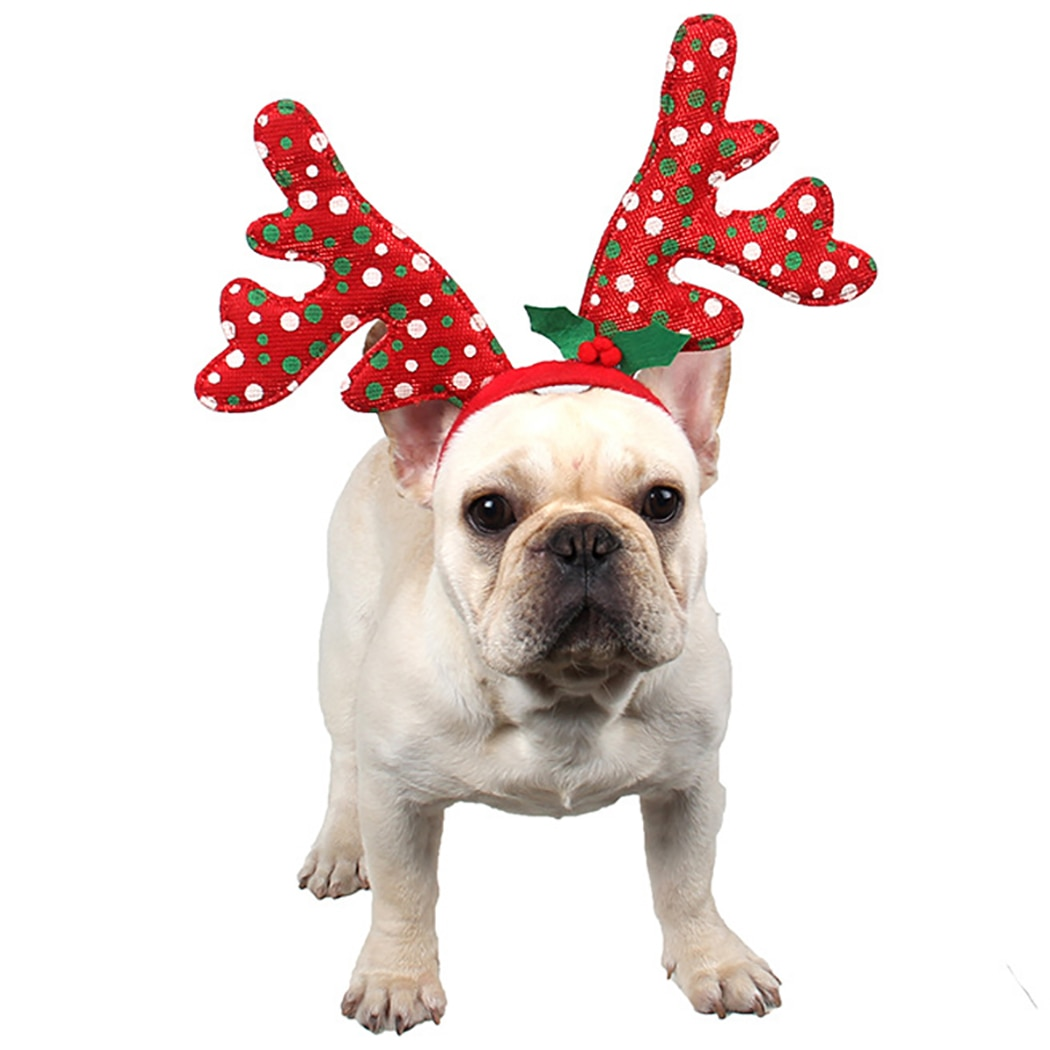 Diadema para mascotas adorables puntos Antler pelo Hoop mascota ciervo cuerno sombrero gato Cosplay fiesta disfraz para perros gatos Navidad año Nuevo