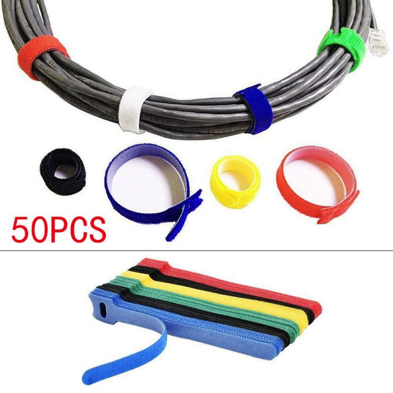 Cable negro reutilizable de 50 uds. correa de nailon de gancho de...