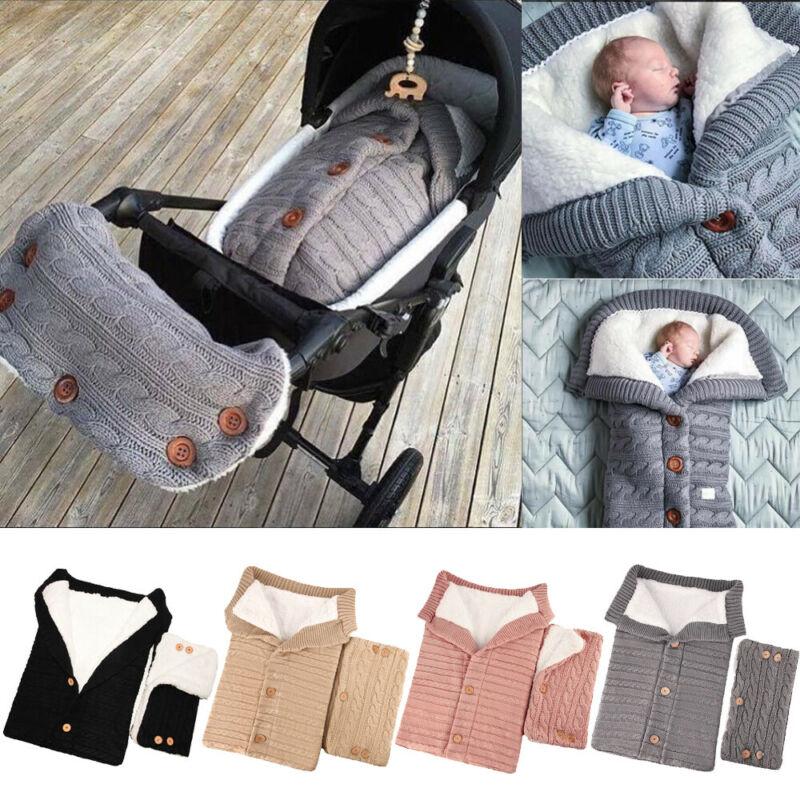 Bebé recién nacido Swaddle Wrap caliente manta de punto saco de dormir + Pram Handrail Sets 2 piezas bebé cálido suave dormir bolsas