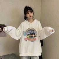 sweatshirt cotton spring retro loose large size hooded pullover printing long sleeve sweater top women harajuku oversized hoodie