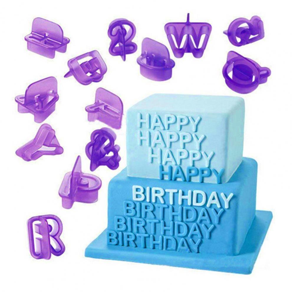 Hot 40pcs alphanumeric plastic biscuit mold household purple cake decoration mold kitchen chocolate fudge non-stick mold