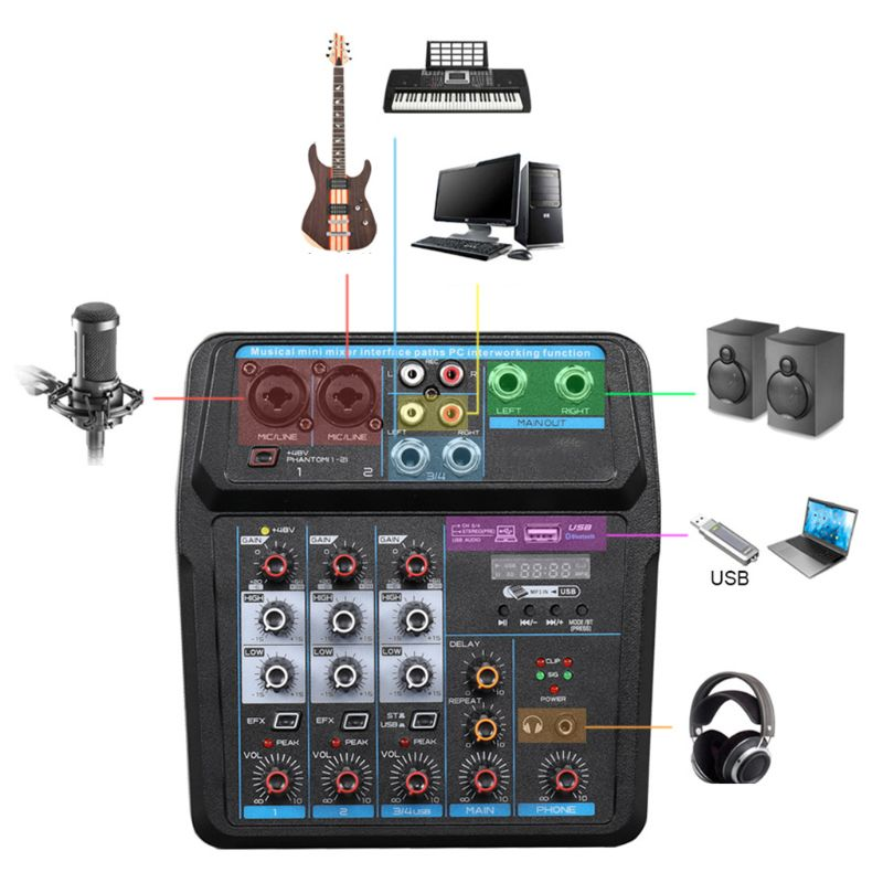 Consola mezcladora de Audio Digital, portátil, de 4 canales, con Bluetooth, USB, 48V, Phantom Power para DJ, PC, dispositivo mezclador de sonido para grabación