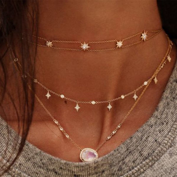 Moonstones cz Cadena de joyería elegante mujer impresionante collar bonito moda moderna frente piedra Chic collares