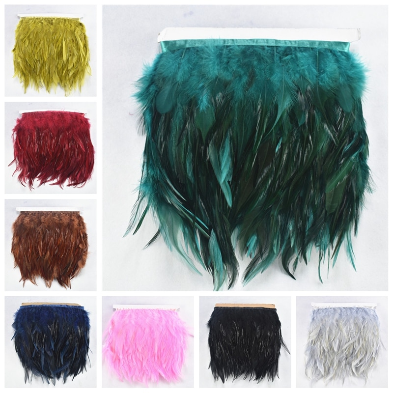 1Meters/Lot Saddle Pheasant Feathers Trim Fringe 4-6 Burgundy Rooster Ribbon Sewing for Jewelry Making Plumas