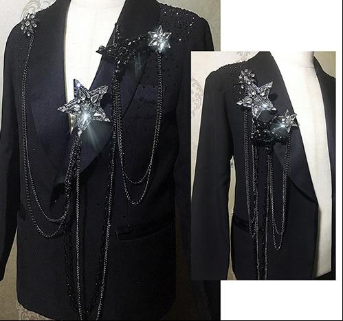 Hermoso Diamante de imitación pentagrama Extra largo hecho a mano de moda, insignias de tablero de hombro, tela de Metal Epaulette