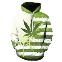 2021 autumn and winter 3d green leaf maple leaf printing fashion casual hoodie men and women hip hop sweatshirt street sweater