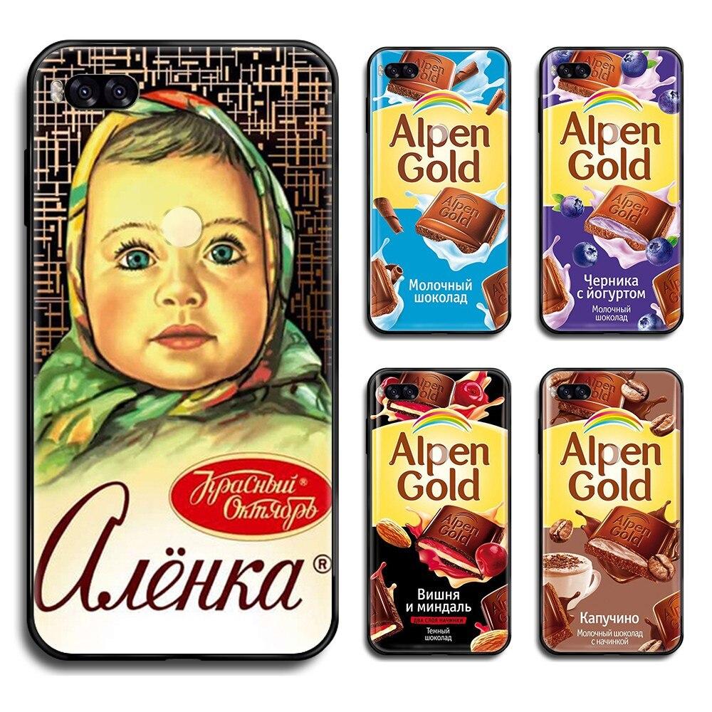 Ruso chocolate Alpen oro funda negro mate sólido líquido teléfono carcasa casco para Xiaomi Redmi NOTE 4 5 6 7 8 t A X Plus pro
