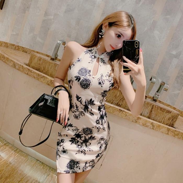 Традиционное китайское летнее Чонсам с принтом пионов для женщин, Ретро стиль, ханьфу, сексуальное Ципао, розовое короткое тонкое платье дл...