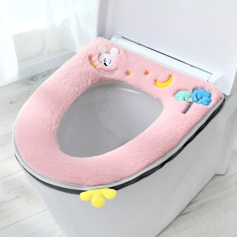Toilet Lid 2020 Comfortable Bathroom Winter Warmth Washable Toilet Seat Cushion Plush Ring Toilet Lid Accessories With Handle enlarge
