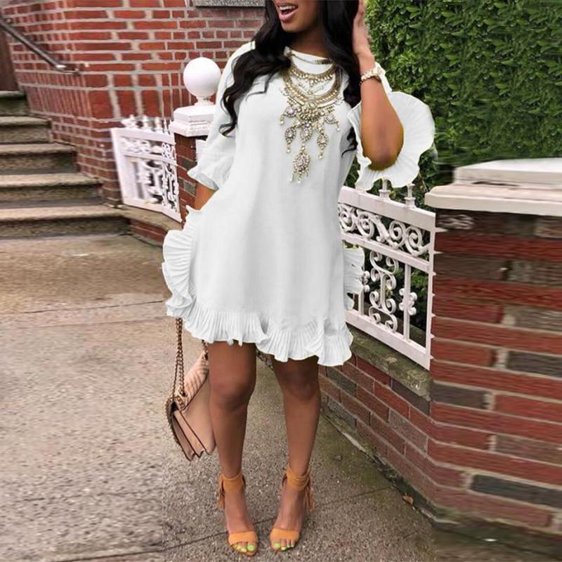 VONDA Bohemian Dress Women Vintage Half Butterfly Sleeve Party Mini Dress 2020 Summer Sundress Casual Loose Vestidos Plus Size
