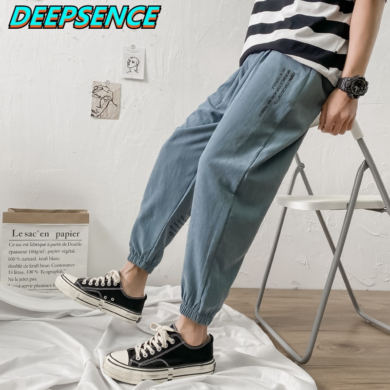 2021 New Fashion Casual Cargo Pants Four Seasons Men Chic Letter Print Loose Fit Ankle Length Pants
