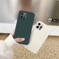 straight edge square liquid silicone phone case for iphone 12 11 pro max xs xr x 8 7 6s plus soft tpu silicone protective cover