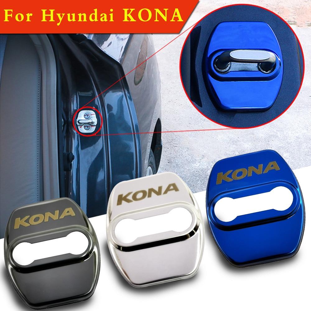 Flyj 4 pçs fechadura da porta do carro capa proteger fivela capa acessórios do carro para hyundai kona etiqueta do carro