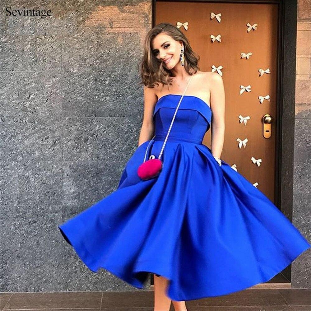Sev vintage-فستان سهرة ساتان أزرق ملكي ، رخيص ، طول الركبة ، بدون حمالات ، مصنوع حسب الطلب