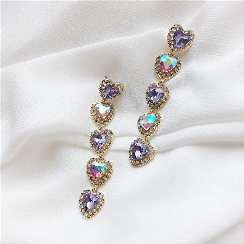 Corazón y larga combinación de colores, pendientes púrpura Rosa anti-alergia pendientes para mujer con temperamento