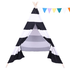 【US Warehouse】Indian Tent Children Teepee Tent Baby Indoor Dollhouse Black and White Stripes  (Tent)