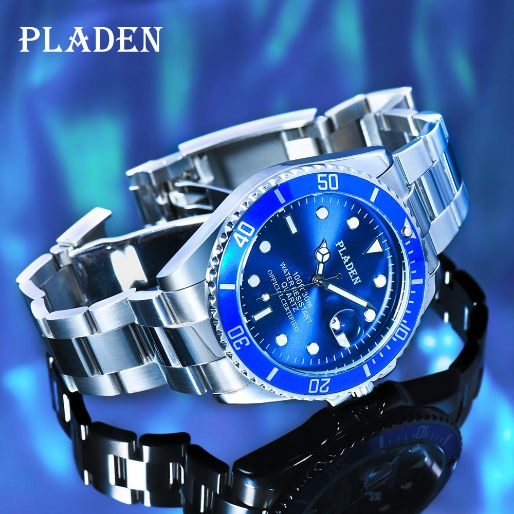 PLADEN Man Watch Waterproof Top Brands Men's Wrist Watch Reloj Hombre Luminous Stainless Steel Luxur