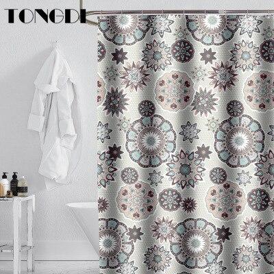Tongdi boho cortina de chuveiro impermeável eco-amigo moderno elegante circular padrão impressão de secagem rápida para banheiro casa de banho