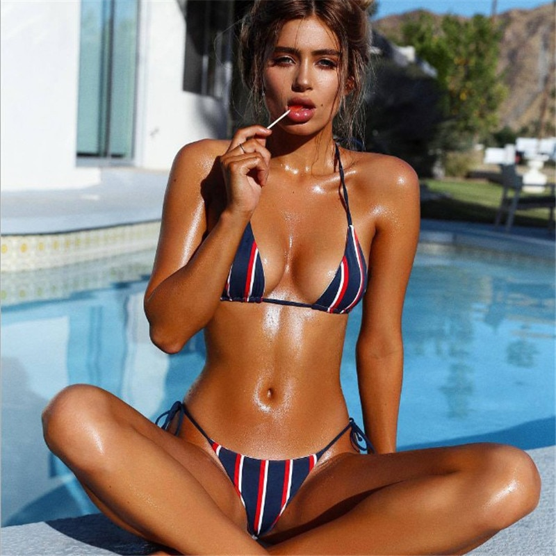 Popular  womens bathing suits Bikini 2021 new sexy triangle stripe lace up printed Swimsuit
