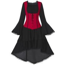 2019 gótico arco fiesta Vestido Mujer Vintage negro manga larga cruzada espalda encaje Panel corsé Swing vestido bata Vestidos Mujer # G30