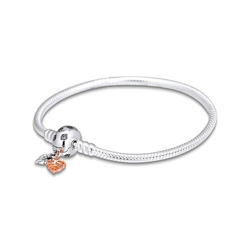 Original 925 prata esterlina pulseiras bangles momentos deixa cobra corrente pulseira diy contas jóias para mulher kralen pulsera