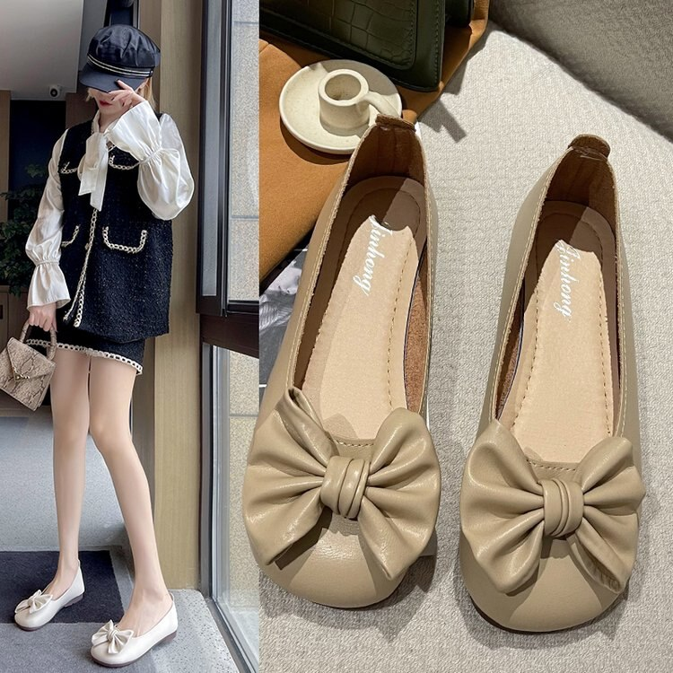 Shoes Woman Flats Square Toe Bow-Knot Low Heels Shallow Mouth All-Match Dress Boat Butterfly Summer