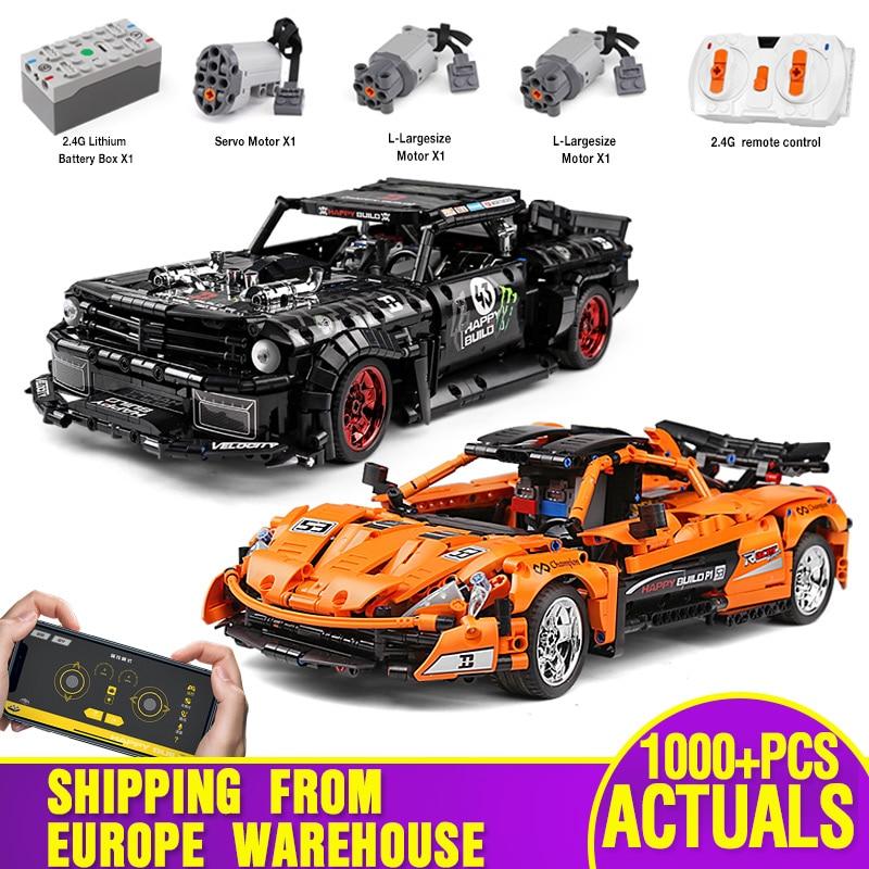 Lepining 1:12 APP Technic Car Toys The 20087 P1 Race Car And 20102 Mustang Hoonicorn Car Set Building Blocks Kids Christmas Gift