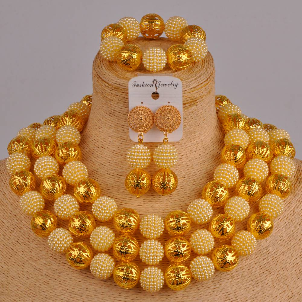 Collar de perlas de imitación dorado africano beis, conjunto de joyería nigeriana para boda, conjunto de joyería para fiesta FZZ48