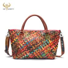 New Colorful Genuine Leather Famous Brand Luxury Female Patchwork Large Purse Handbag Shoulder bag W