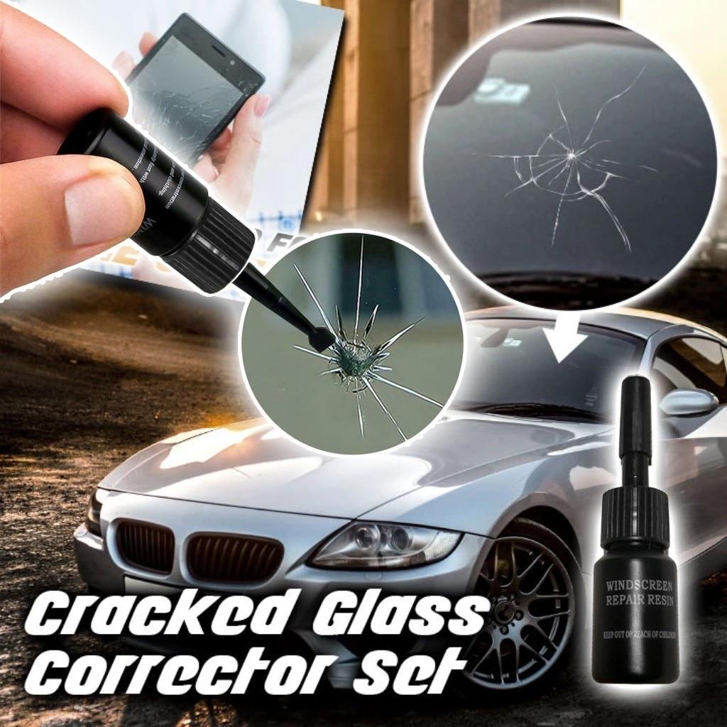 DIY herramientas para reparar ventanas coche herramienta de reparación de parabrisas para arañazos de cristal Restauración de grietas ventana pantalla resina + hoja + 5 x película curado