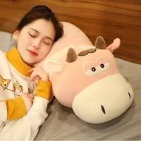 hot soft lovely lying cattle plush toys good quality stuffed soft animal dolls cartoon cushion for children girls sleep pillow