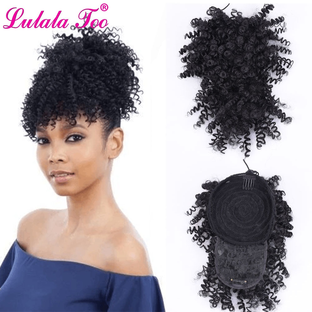 Afro corto rizado alto Puff cordón cola de caballo con peluca con flequillo envolver Clip sintético en la extensión del cabello moño y Bang Set