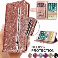 Модный Блестящий кожаный чехол-кошелек с отделениями для карт, флип-чехол для iPhone 6 6S 7 8 11 Pro Max 12 Mini 12 Pro Max X/Xs Max XR SE 2020