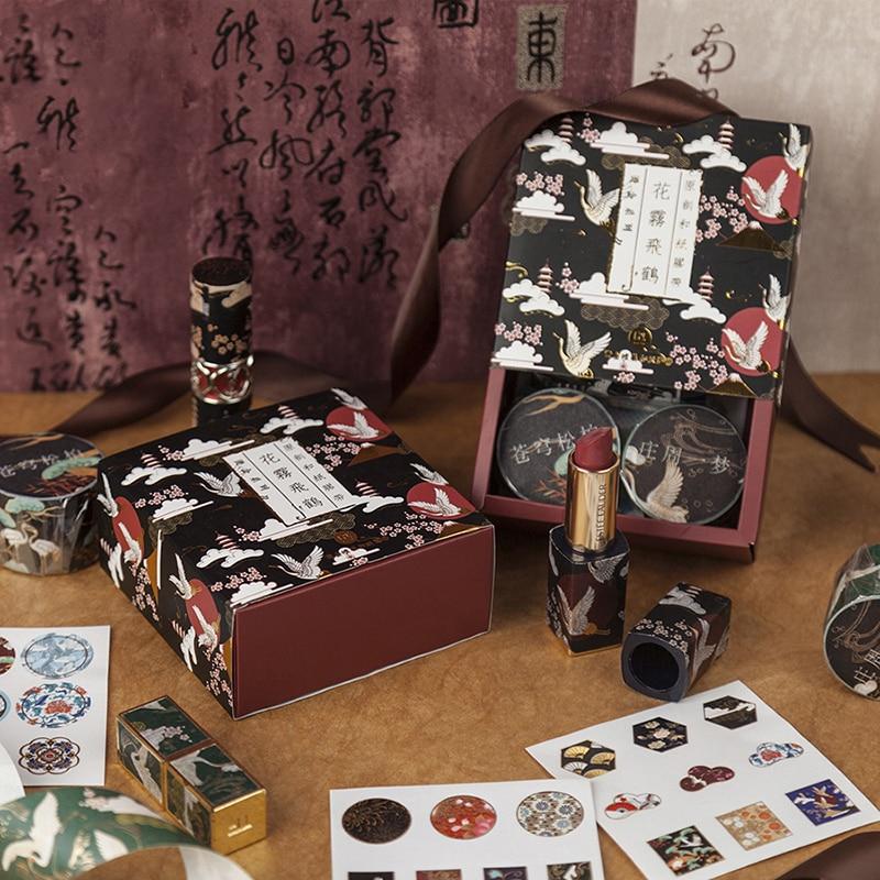VanYi 6 шт. Подарочная посылка, наклейки, скрапбукинг, набор лент Washi, Золотое Тиснение, кран, Специальные чернила, наклейки Сакура, малярные лен...