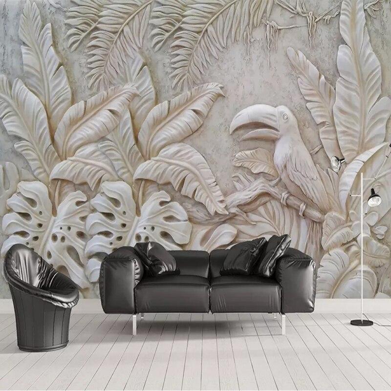Papel pintado de foto personalizado para paredes 3D estereoscópica en relieve planta hoja pájaro Fondo pared Mural para decoración de restaurante sala de estar