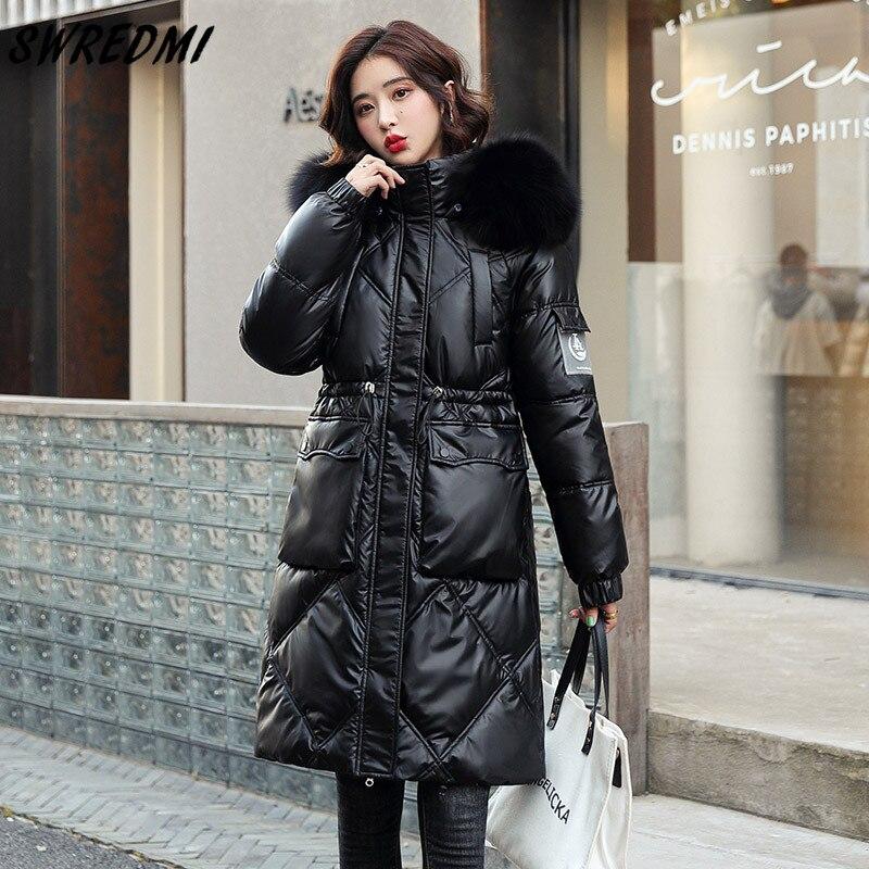 SWREDMI طويل سترات النساء ملابس الثلوج مقاوم للماء المعاطف مقنعين المتضخم S-3XL سليم موضة الستر الإناث القطن مبطن الملابس