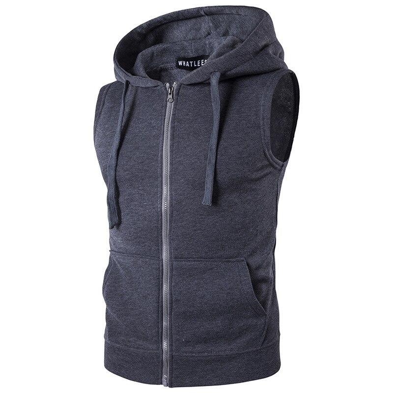 Новинка, мужской свитер с капюшоном и карманами на молнии, жилет, пальто, жилет с капюшоном