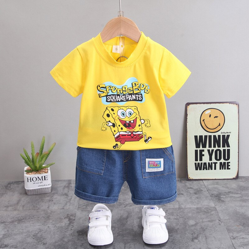 Baby Boys Set Girls Summer Clothes Boy Childrens Sports Suit Cotton Cartoon Kids Tracksuit