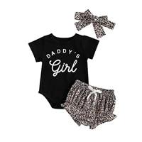 newborn baby girls 3 piece outfit set short sleeve letter print romperleopard shortsheadband set toddler