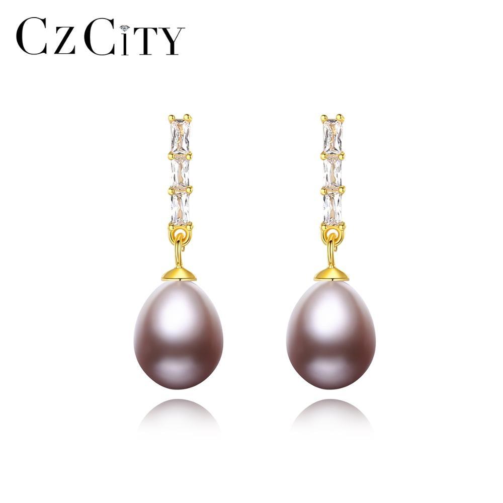 CZCITY Freshwater Natural Pearl Drop Earrings for Women Girl Wedding Pure 925 Silver Fine Jewelry Bo