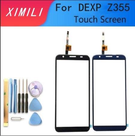 Probado bien Originaln 100% 5,5 pulgadas para DEXP Z355 pantalla táctil de cristal lente cristal digitalizador con Sensor Color Negro Azul con cinta