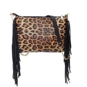 European and American trend large-capacity leopard-print shoulder tassel hand bag messenger bag