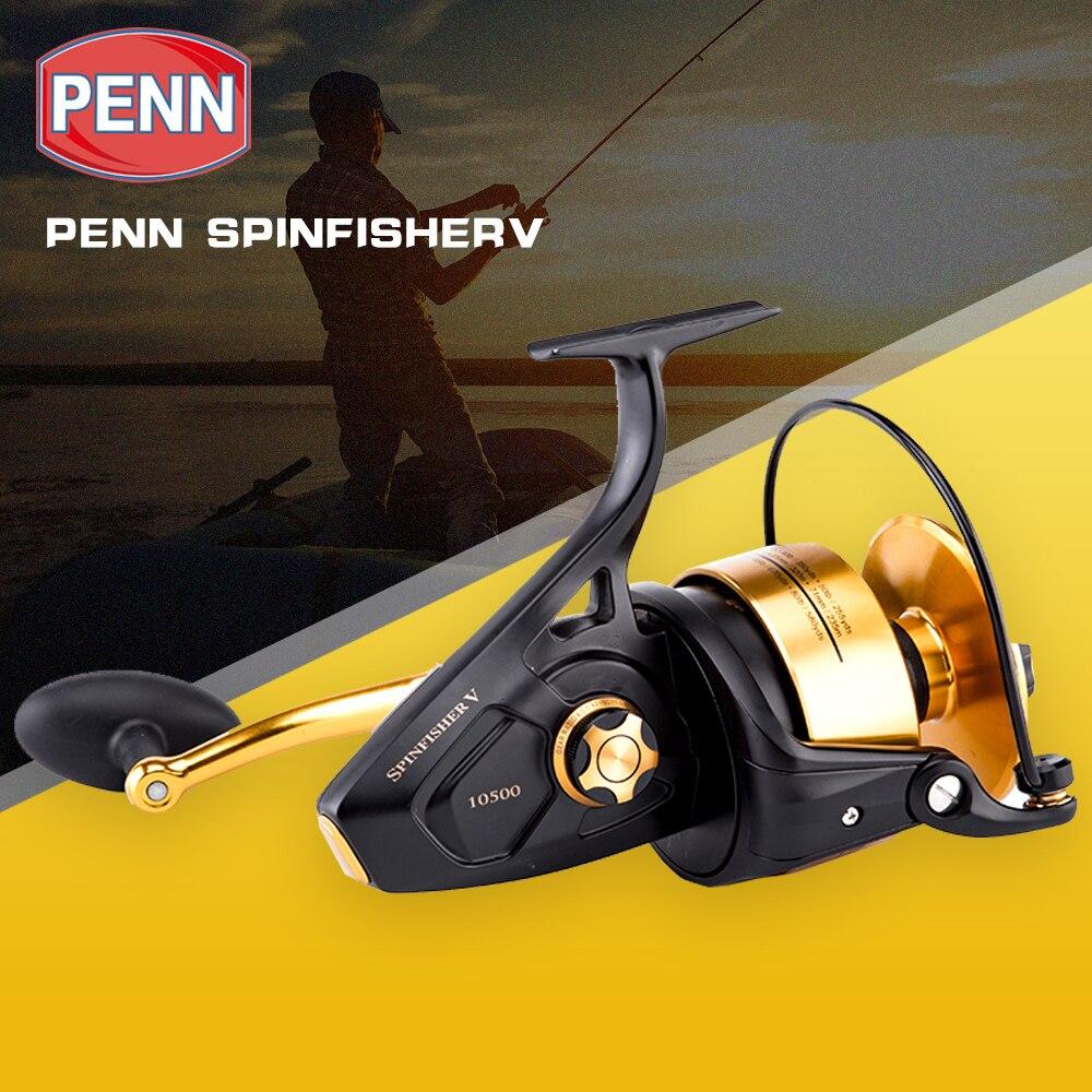 Original PENN SPINFISHER V SSV 3500-10500 Spinning Fishing Reel 5+1BB Full Metal Body HT-100 Saltwater Boat fishing reel Wheel