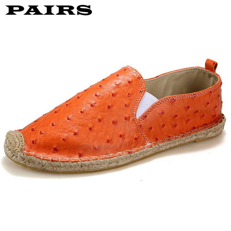 ربيع الخريف الأخفاف حذاء رجالي جلد النعامة العلامة التجارية حذاء رجالي أحذية رياضية عادية الرجال أسود برتقالي أبيض للجنسين