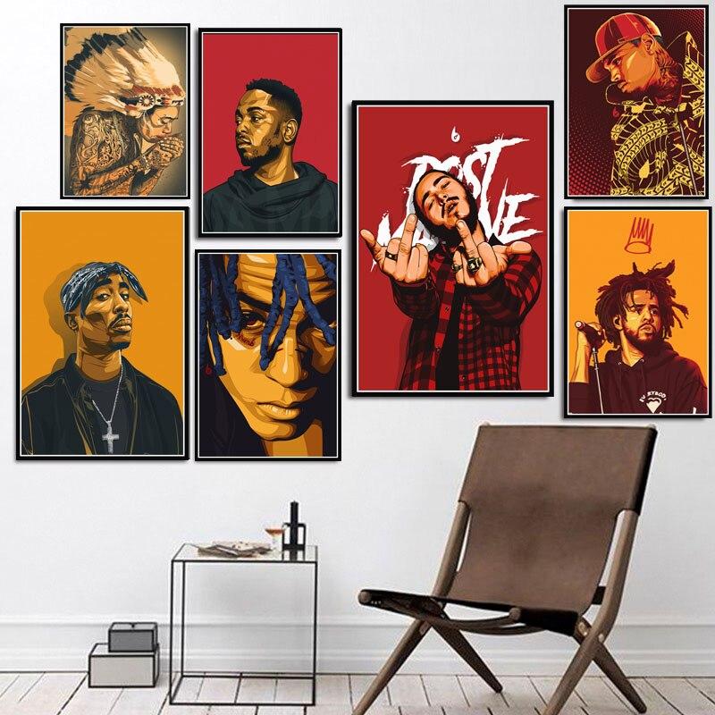 2Pac Tupac J Cole Post Malone XXXTentacion rapero estrellas Pop cartel impresiones arte de la pared pintura fotos casa decoración quadro cuadros