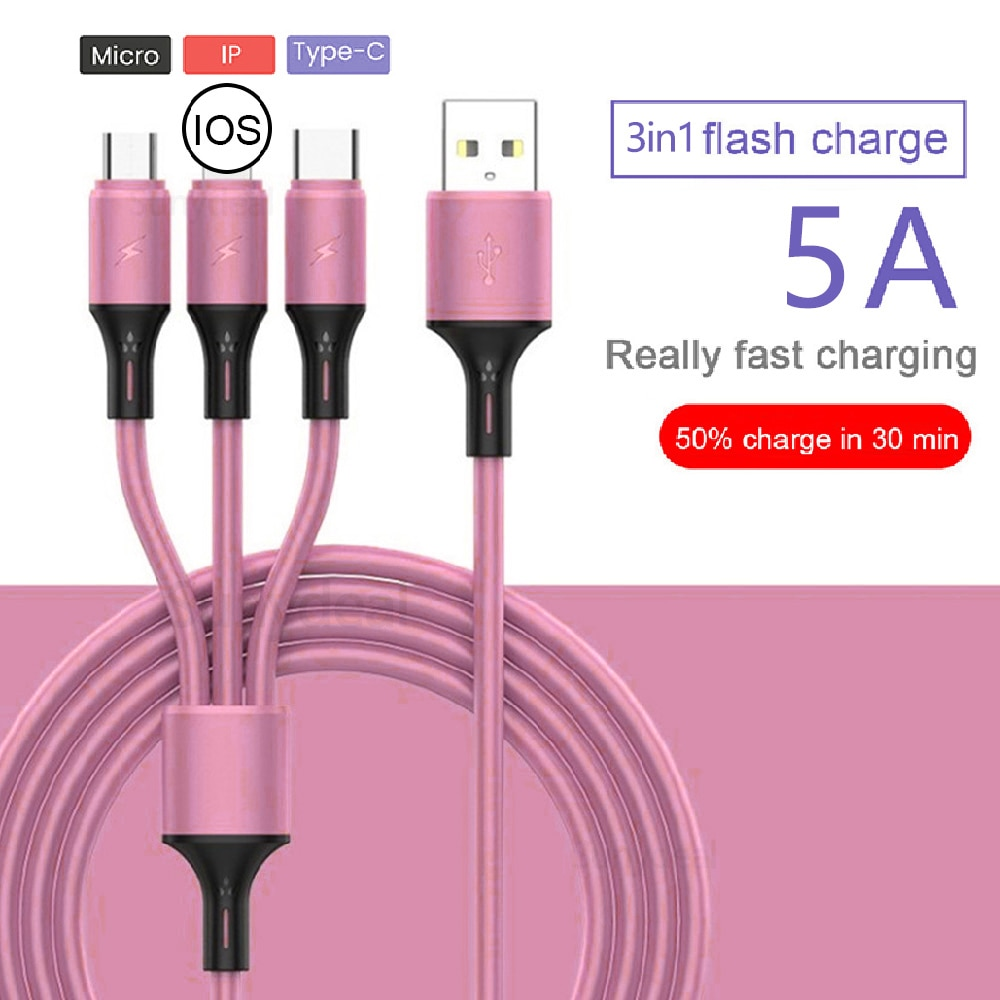 3in1 Liquid silicone 5A Fast Charging Data Cord skin Cable Micro USB Type C Phone Charger For iPhone