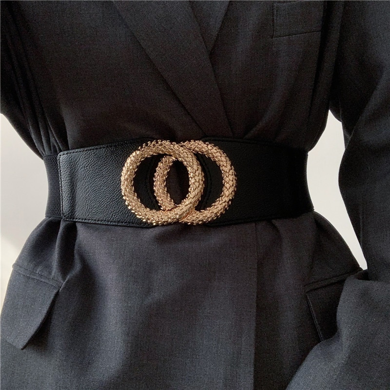 New Wide Waist For Black Female Jacket Dress Gold Alloy Big Circle Buckle Belt Fashion Girl Seal Wai