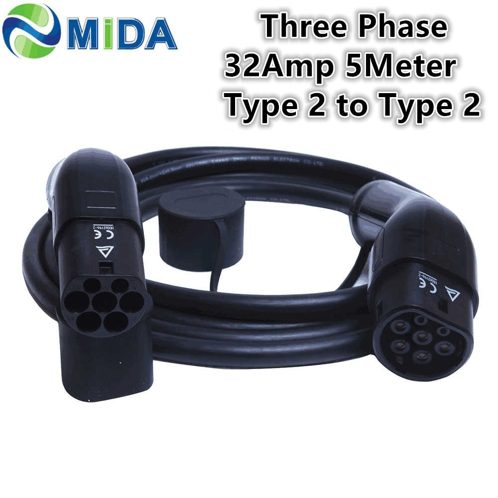 ثلاثة المرحلة 32Amp 5 متر نوع 2 إلى نوع 2 EV شحن كابل Type2 EV شاحن الرصاص ل الكهربائية سيارة شاحن