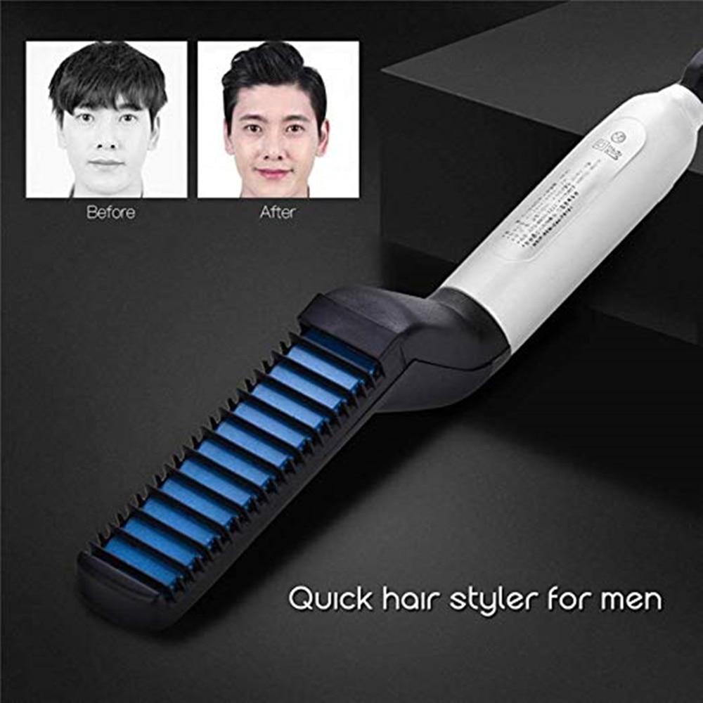 2020 novo alisador de cabelo eletrico escova de barba encaracolado cabelo alisamento