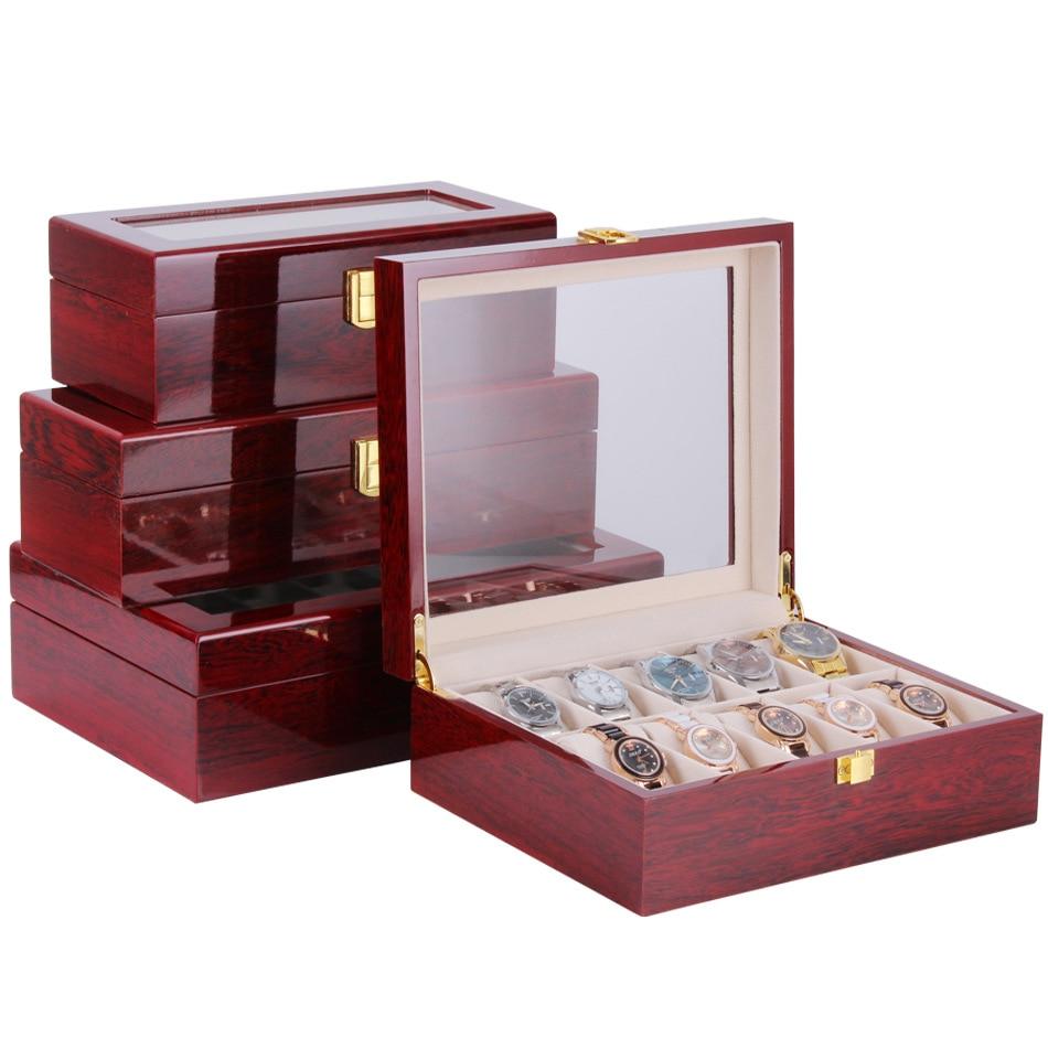 Caixa de Relógio de Madeira Case de Relógio Case de Armazenamento Caixa de Armazenamento 10 12 Slots Exibição Organizador Grande Vidro Superior Coletor Case 2 – 3 5 6